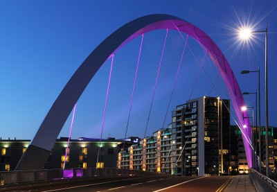 The Squinty bridge in Glasgow links the newly redeveloped areas on the South of the Clyde with the city centre.