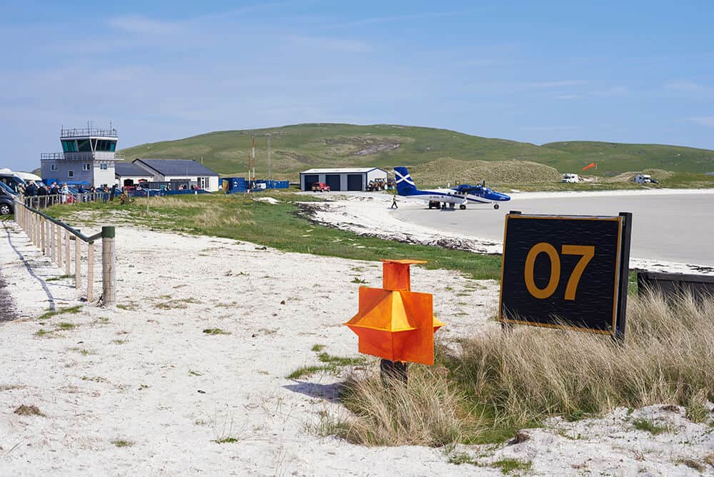The airport at Barra in the Western Isles
