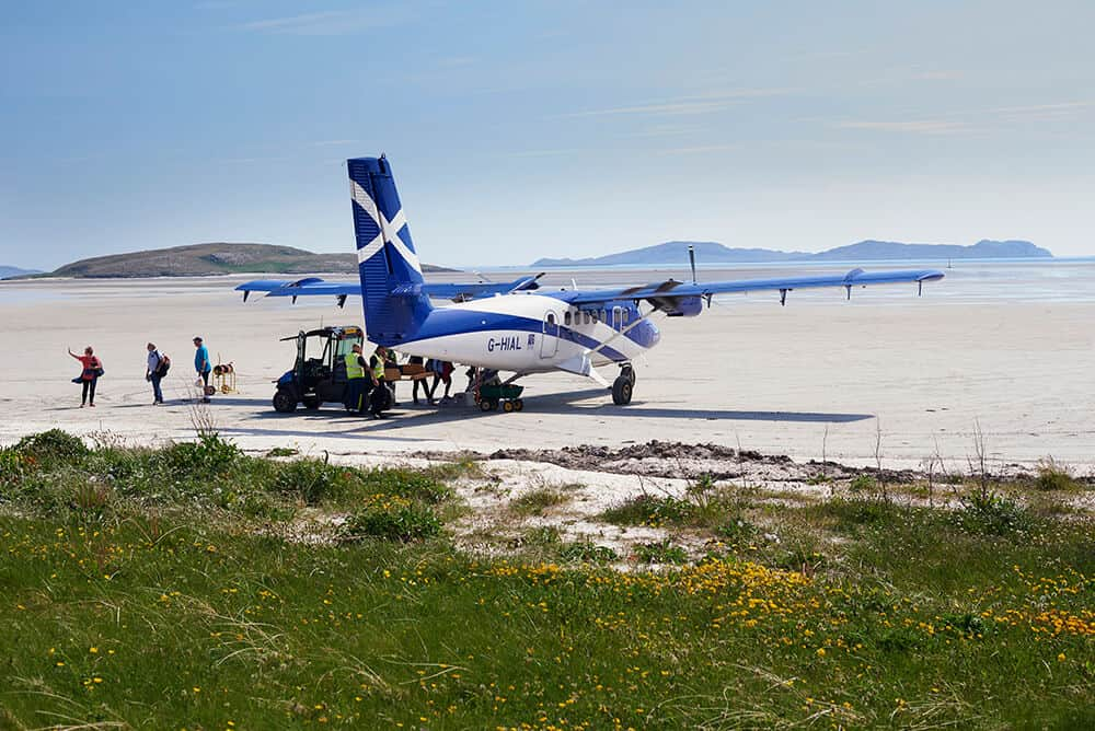 Barra is famous for its airport which uses the beach as a runway.